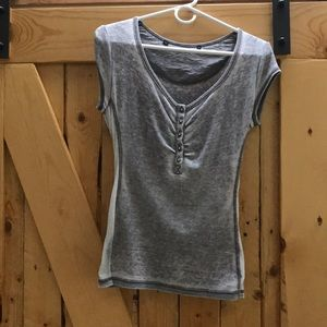 Tops - Gray short sleeve Henley